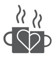 lovely mugs glyph icon romantic and love vector image vector image