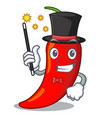 magician red chili pepper isolated on mascot vector image vector image