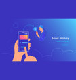 mobile banking and sending money from credit card vector image