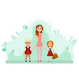 mother and two happy kids with backpacks isolated vector image vector image