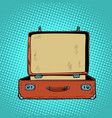old open retro suitcase travel and tourism vector image vector image