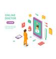 online doctor concept medical online consultation vector image