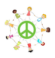 peace sign with kids vector image vector image