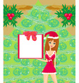 pretty girl in Christmas costume vector image vector image