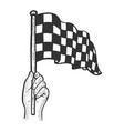 racing flag in hand sketch vector image vector image