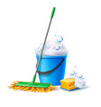 realistic mop sponge bucket with soapy foam vector image vector image