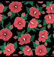 red hibiscus flowers green leaves on black night vector image vector image
