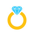 ring with diamond icon in flat style gold vector image vector image
