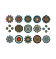 Round tribal decorative elements set vector image