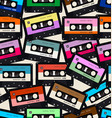 seamless pattern with old audio cassettes vector image vector image
