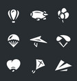 set of aeronautics icons vector image vector image