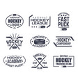 set of isolated hockey logo with stick and puck vector image vector image