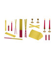 set of joss sticks and candle for make merit vector image vector image