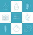 shavuot holiday flat design white thin line icons vector image vector image