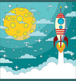 space rocket flying in space with moon vector image vector image