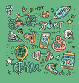 sport and fitness doodle elements vector image vector image