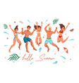 summer beach people happy friends jumping vector image vector image