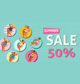 summer sale banner with gils on inflatable in vector image