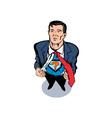 Super Hero Taking Off Suit vector image