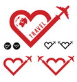 travel love in heart icon set vector image
