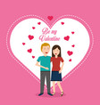valentine day couple love heart greeting card vector image