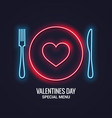 valentines day neon menu fork and knife vector image vector image