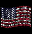 waving american flag stylization of euro icons vector image vector image