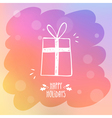 Sketchy gift box on misted window glass with bokeh vector image