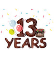 13th years anniversary card vector image