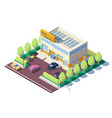 3d isometric modern car auto service with parking vector image vector image