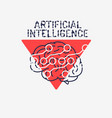 artificial intelligence themed sign logo design vector image vector image