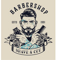 barbershop vintage print vector image vector image