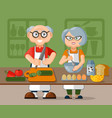 beautiful elderly family couple in aprons cooking vector image vector image