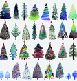 Big collection of watercolor Christmas tree vector image vector image