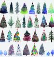 big collection watercolor christmas tree vector image