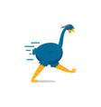 blue running emu cartoon vector image