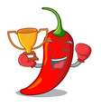 boxing winner red chili pepper isolated on mascot vector image vector image