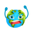 cartoon furious earth planet emoji humanized vector image vector image