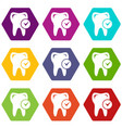 cavity tooth icons set 9 vector image vector image