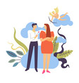 couple falling in love and courtship concept vector image