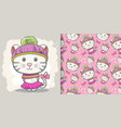 cute bakitten greeting card with pattern set vector image vector image