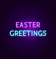 easter greetings neon sign vector image vector image