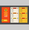 fastfood and street food menu cafe vector image vector image