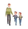 father taking his two sons to school in the vector image vector image