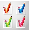 Flat Color Paper Pencils Check Box vector image