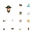 flat icons cranium corsair pirate hat and other vector image vector image