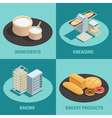 Four Bakery Factory Isometric Icon Set vector image vector image