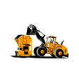 Front End Loader Digger Excavator Retro vector image
