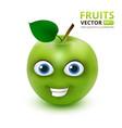 funny and cute green apple cartoon mascot vector image vector image