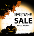halloween sale on orange square background vector image
